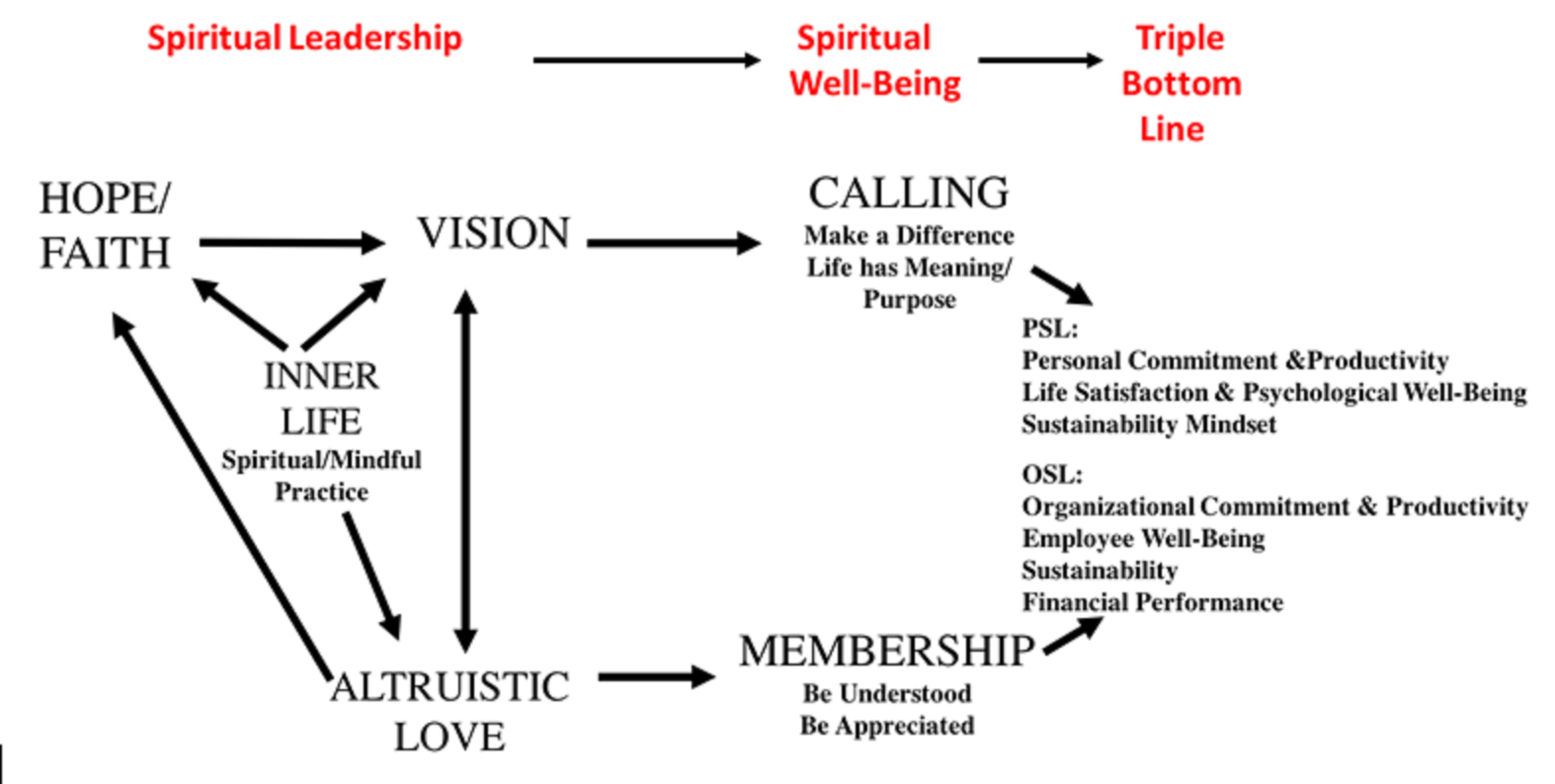 personal and organizational spiritual leadership model, louis w fry, act consulting