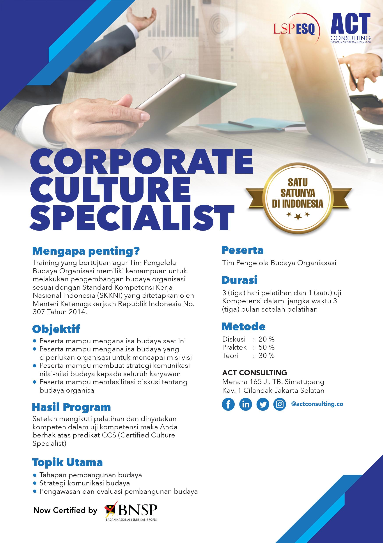 training sertifikasi nasional, corporate culture specialist, act consulting, lembaga sertifikasi profesi esq, lsp esq, ary ginanjar agustian